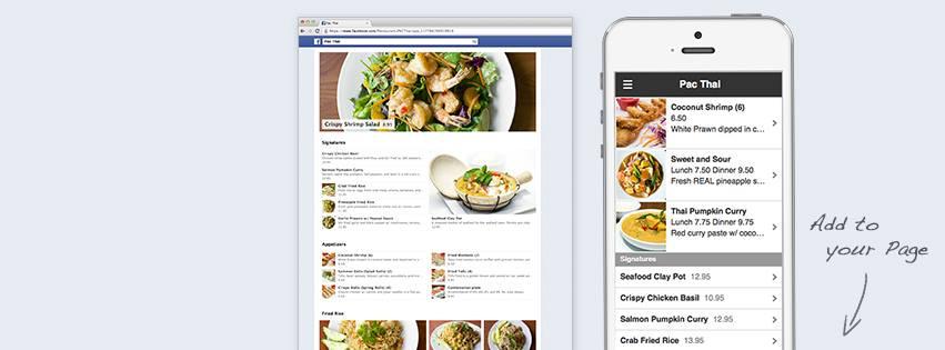 menú en facebook