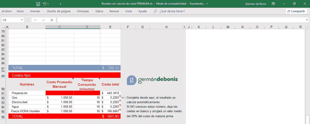 Planilla Receta con calculadora de costos y rentabilidad