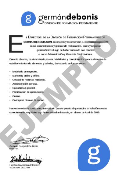 Carta de recomendación gastronómica