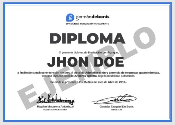 Diploma Administración y Gerencia de Restaurantes.