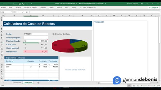 Costos de recetas (Formato en Excel) 1